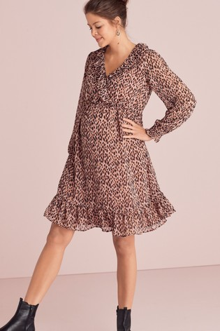 Animal Maternity Ruffle Mini Dress