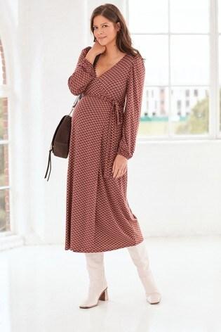 Geo Print Maternity Wrap Dress