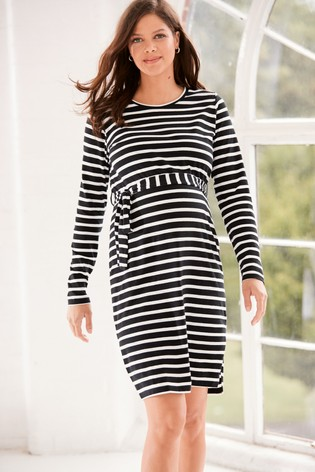 Monochrome Maternity Belted Stripe Jersey Dress