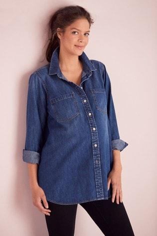 Mid Blue Maternity/Nursing Denim Shirt