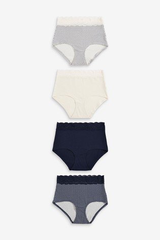 Navy/Cream/Geo Print Full Brief Lace Trim Cotton Blend Knickers 4 Pack