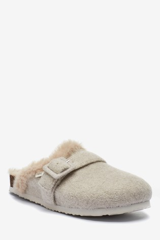 Stone Buckle Mule Slippers
