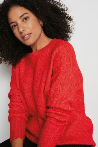 Red Crew Neck Cable Jumper