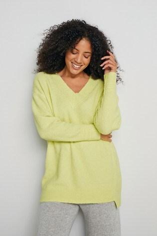Green Textured Knit Jumper