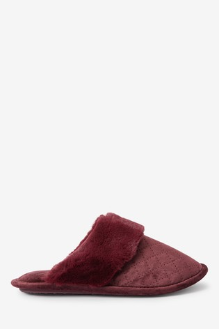 Berry Quilted Mule Slippers