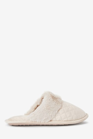 Cream Quilted Mule Slippers