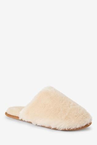 Cream Faux Shearling Mule Slippers