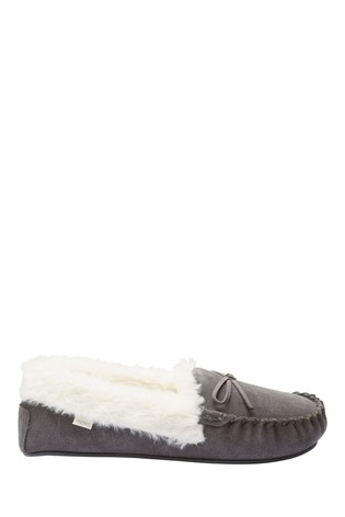 Buy Grey Suede Moccasin Slippers from