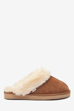 Chestnut Suede Mule Slippers