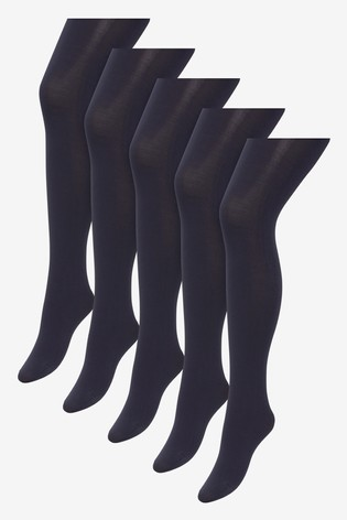 Navy Basic Opaque 100 Denier Tights Five Pack