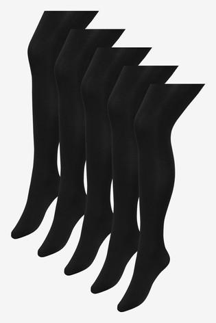 Black Basic Opaque 60 Denier Tights Five Pack