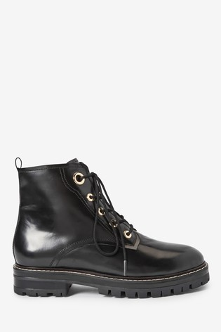 Black Forever Comfort® Eyelet Detail Lace-Up Chunky Boots