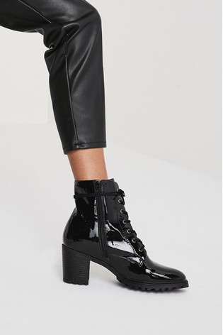 Black Patent Forever Comfort® Cleated Lace-Up Boots