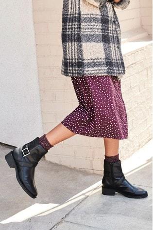 Black Forever Comfort® Cross Strap Biker Boots