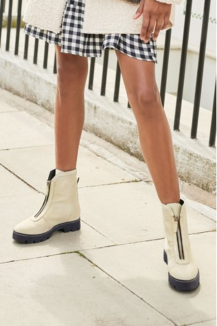White Forever Comfort® Front Zip Chunky Boots