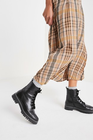 Black Forever Comfort® Leather Lace-Up Boots