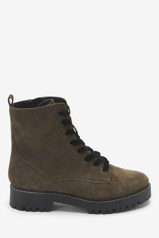 Khaki Forever Comfort® Leather Lace-Up Boots