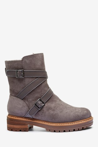 Grey Forever Comfort® Strap Buckle Boots With Faux Fur Lining