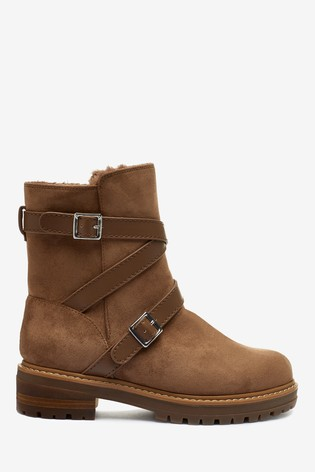 Tan Faux Fur Lined Forever Comfort® Buckle Strap Boots