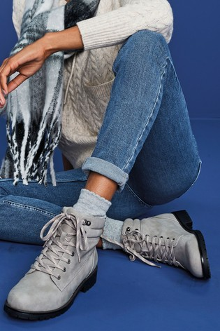 Grey Forever Comfort® Casual Lace-Up Boots