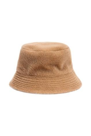 Camel Faux Fur Bucket Hat
