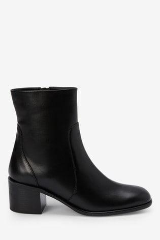 Black Square Toe Block Heel Ankle Boots