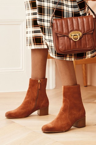 Tan Square Toe Block Heel Ankle Boots