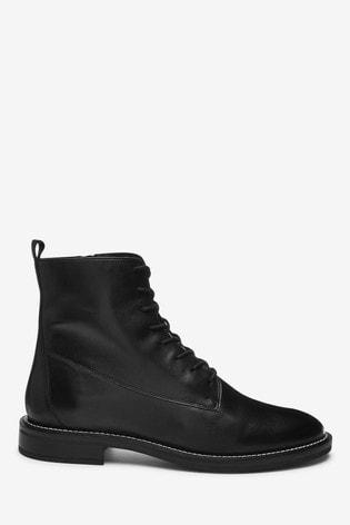 Black Signature Lace-Up Boots