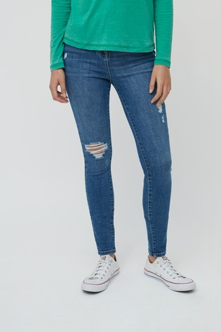 Dark Blue Ripped High Waist Authentic Skinny Jeans