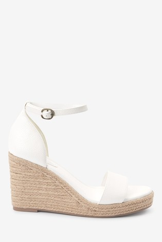 White Two Part Espadrille Wedges