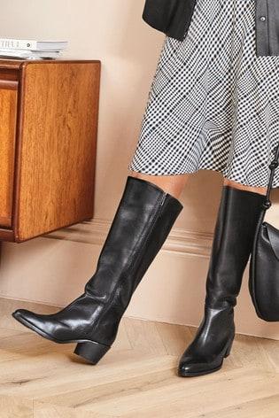 Black Forever Comfort® Chisel Toe Western Knee High Boots