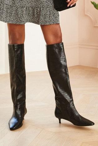 Black Forever Comfort® Kitten Heel Long Boots