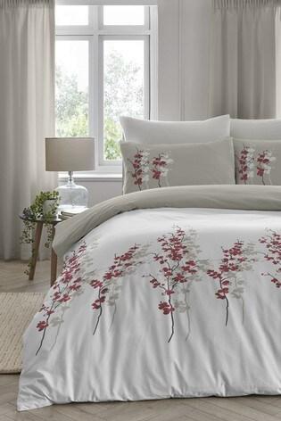 D&D Red Oriental Flower Duvet Cover and Pillowcase Set