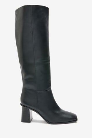 Black Flare Heel Knee High Boots