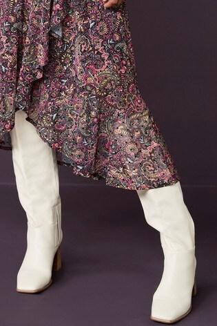 Cream Flare Heel Knee High Boots