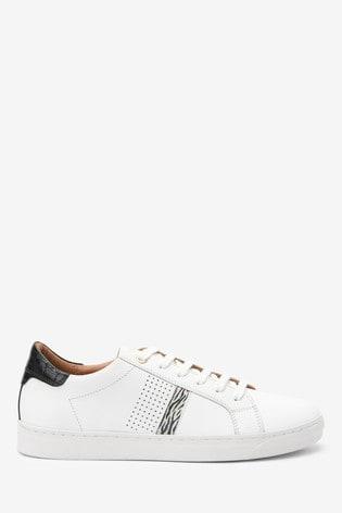 White/Zebra Signature Leather Trainers