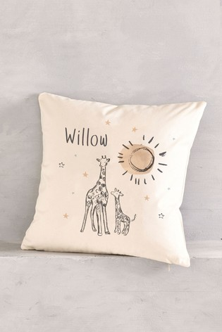 Personalised Giraffe Nursery Cushion by Loveabode