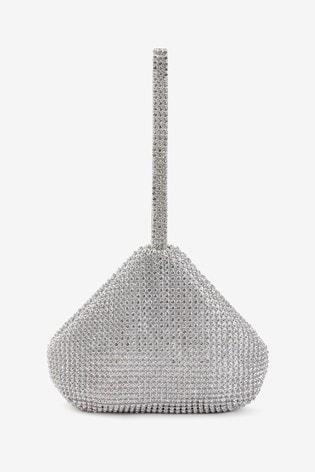 Silver Diamanté Sparkle Clutch Bag