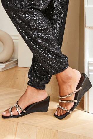 Black Jewelled Strappy Wedge Mules