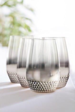 Celeste Metallic Embossed Set of 4 Tumbler Glasses