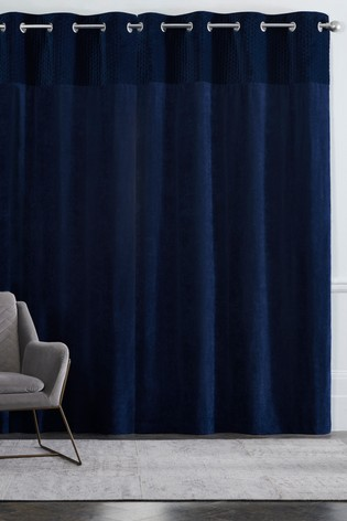 Velvet Quilted Hamilton Top Panel Eyelet Lined Curtains