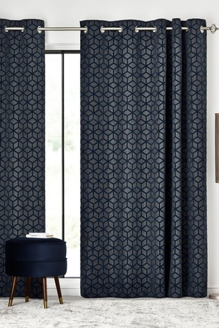 Flocked Geo Eyelet Curtains