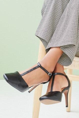 Black Square Toe T-Bar Heels