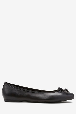 Black Leather Forever Comfort® Ballerina Shoes