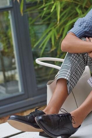 Black Leather Brogue Detail Lace-Up Shoes