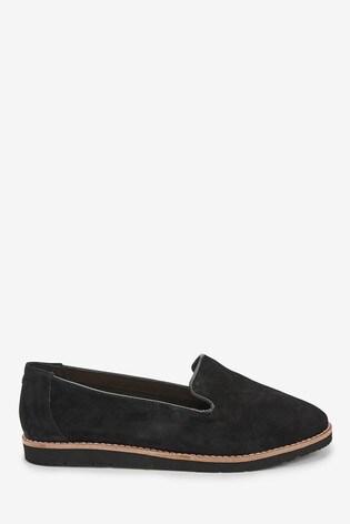 Black Leather EVA Slipper Loafers