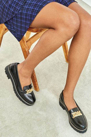 Black Chunky Sole Chain Detail Loafers