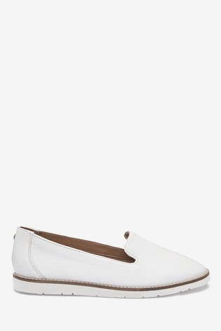 White Leather EVA Slipper Loafers