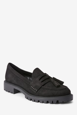 Black Chunky Tassel Loafers
