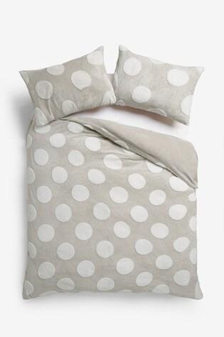 Fleece Natural Spot Duvet Cover And Pillowcase Set